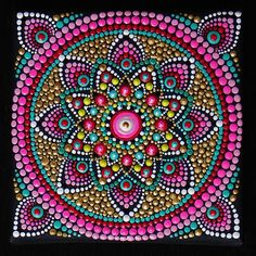 This is a gorgeous miniature painting- so vibrant, colorful and tactile! Bright and amazing work of Dotillism Art, Meditation Mandala, Hand painted Mandala with - acrylic paint on wrapped canvas13x13cm (5x5 inch) with black crystals, which sparkles in different light. This is