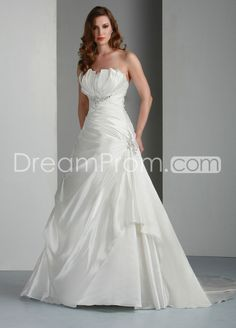 Gorgeous A-line Strapless Floor-Length Chapel Pick-up Wedding Dresses