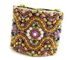 OOAK Ornate Purple Amethyst Lilac  and Gold Royal Goddess Statement Cuff.