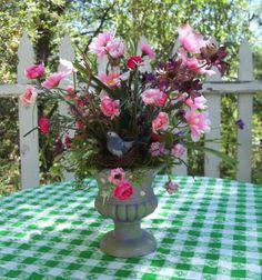 Pink Silk Floral Arrangement with nesting bird
