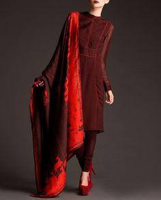 Burgundy Suit with Thread Work