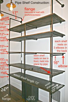Show Off DIY pipe shelf construction- this might be the perfect solution for a cheap, large storage/ desk space in my office.DIY pipe shelf construction- this might be the perfect solution for a cheap, large storage/ desk space in my office. Diy Pipe Shelves, Industrial Pipe Shelves, Pipe Shelving, Industrial Closet, Shelving Units, Industrial Style, Galvanized Pipe Shelves, Pipe Bookshelf, Plumbing Pipe Shelves