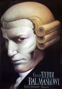 A Masked Ball / Un Ballo in Maschera | Polish Poster for the opera of Giuseppe Verdi designer: Wiesław Wałkuski, year: 1998