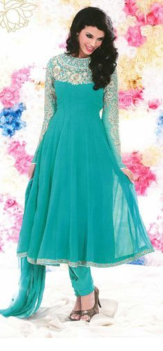 $98.88 Blue Embroidered Faux Georgette Anarkali Salwar Kameez 26010 Pakistani Bridal, Pakistani Dresses, Indian Dresses, Indian Outfits, Designer Anarkali Dresses, Designer Dresses, Designer Sarees, Pakistan Fashion, India Fashion