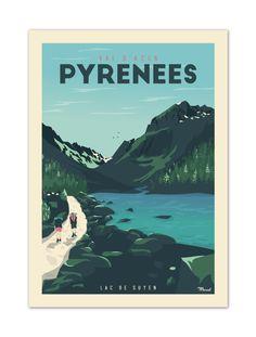 """€25 . Affiche Illustration Originale PYRENEES """"Val d'Azun"""" . Papier 350g/m² Couché Mat"""