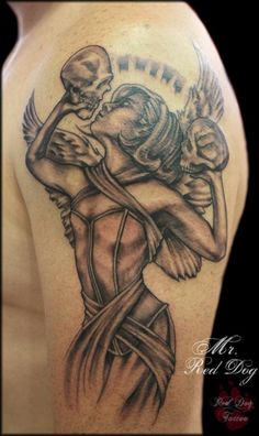 Angel with skulls - 60 Holy Angel Tattoo Designs  <3 <3