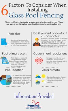 When Installing a glass pool fencing, there are a lot of things to keep in mind. It can be the pool size, the structure of the pool, its aesthetic value and a lot more. To know in detail about things to remember while installing a glass pool fencing, read this infographic.