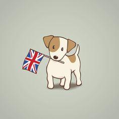 Jack Russell Terrier and Union Jack Illustration Art Print