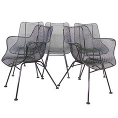 Six Wrought Iron with Mesh Dining Chairs by Russell Woodard