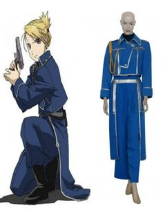 FullMetal Alchemist Riza Hawkeye Military Blue Cosplay Outfits Costumes
