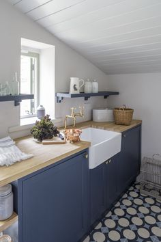 Interior Architecture and Interior Design Project | Cotswold Country House — Gunter & Co Blue Kitchen Cupboards, Kitchen Cabinet Design, Small Laundry Rooms, Laundry Room Design, Luxury Interior Design, Interior Architecture, Terrazzo, Mosaic Del Sur, Tuile