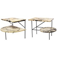 A Pair Of Modernist 1940's Architectural Iron And Marble Tables | From a unique collection of antique and modern end tables at http://www.1stdibs.com/furniture/tables/end-tables/