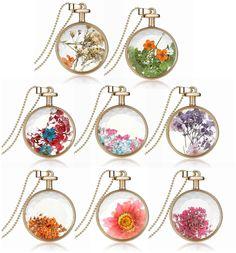 "Amazon.com: Cozylife Pressed Flower Crystal Glass Pendant Necklace, 23.5"" (Blue): Clothing"