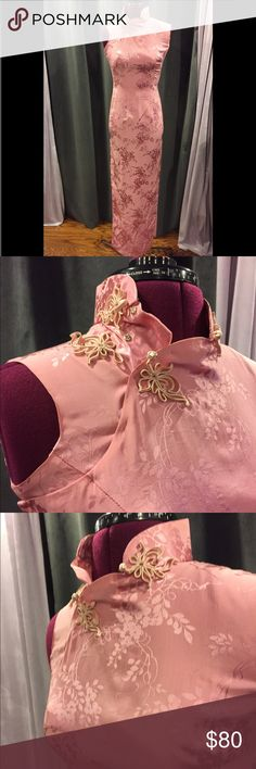 Pink silk vintage Chinese style dress. Size 0 - 2 Just look at this gorgeous vintage silk Chinese style dress! If I could fit it, I would love to keep it! It's handmade and in perfect condition. Slit on both sides comes up around the knee. Zips up the side. Snaps on the top right. Fits the dress form as a size 0-2. Dresses Maxi