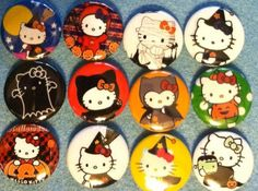 Hello Kitty Halloween 1 inch round flat back by Buttonbonanza702, $5.00