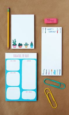 "Happy Cactus Designs Cactus Notepad  This 50 sheet 4"" x 6"" notepad features hand-drawn potted cacti and succulents at the bottom."