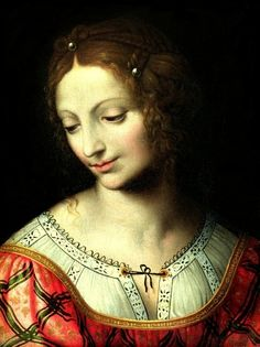Salome (detail) 1527-1531 by Bernardino Luini - Uffizi, Florence - note embroidery on chemise, self! #embroidery