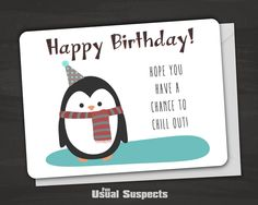 Cute penguin birthday card! Outside reads: 'Happy Birthday. Hope you have a…
