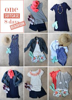 Stitch fix stylist: Love all of these outfits. Would love some shorts like these. one suitcase eight ways: beach week Stitch fix stylist: Love all of these outfits. Would love some shorts like these. one suitcase eight ways: beach week Beach Vacation Outfits, Summer Outfits, Cute Outfits, Vacation Packing, Packing Lists, Beach Travel Outfit, Travel Packing, Beach Trip, Beach Holiday Outfits