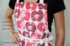 easy and affordable #diy apple stamped apron on www.CherylStyle.com
