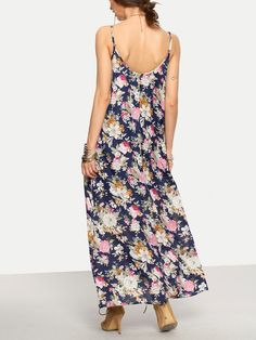 Multicolor Floral Spaghetti Strap Maxi Dress -SheIn(Sheinside)