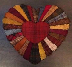 Primitive Wool Penny Rugs Valentine's Day Heart by MaggysPennies, $45.00