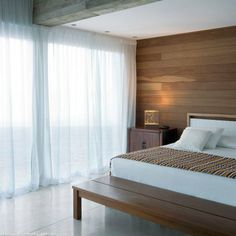 Simple Bedroom (Minimal bedroom) wood pannelled with floor to ceiling windows and voile curtains. Home Bedroom, Home Living Room, Bedroom Furniture, Bedroom Decor, Bedrooms, Home Studio, Pretty In Pink, Minimal Bedroom, Wood Panel Walls