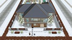 The Jones family winter vacation cabin - front view of the house - in my Sims Freeplay