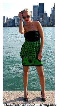 Strapless green leso dress made for LHO Creations