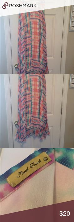 Tie-dye maxi skirt, size small Tie-dye maxi skirt, size small. Never been worn. Zipper on the side of the waist. Brand: Final Touch. Purchased at local boutique, Calypso, in Lexington, KY. Loved this piece on the hanger but was never able to fit into it. It sits high on your waist, and would pair great with a crop top. Message me with an offer! Final Touch Skirts Maxi