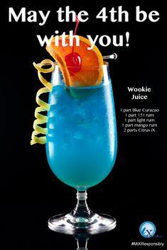 Crazy Eddie's Motie News: Star Wars drinks for Star Wars Day Liquor Drinks, Cocktail Drinks, Cocktail Recipes, Alcoholic Drinks, Beverages, Fancy Drinks, Whiskey Drinks, Star Wars Essen, Rum