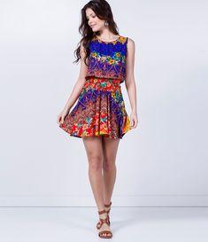 Vestido feminino  Sem manga  Estampa floral  Marca: Blue Steel  Tecido: viscose  Composição: 100% viscose  Modelo veste tamanho: P           COLEÇÃO VERÃO 2016           Veja outras opções de    vestidos femininos.