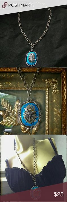 Vintage Green Man Shabby Blue Statement Necklace Very Beautiful and odd blue enamel green man pendant necklace. Very bold very interesting, shabby piece. Enamel loss is present and adds to the shabby look. Vintage Jewelry Necklaces