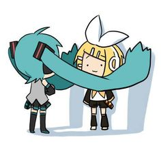 chibi miku and ren