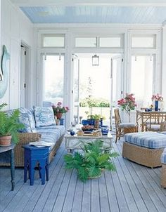 Porch Decorating Ideas - Summer Porch Decor - House Beautiful-love the floor Style Cottage, Cottage Porch, Coastal Cottage, Coastal Entryway, Lake Cottage, Coastal Farmhouse, Shabby Cottage, Shabby Chic, Porche Chalet