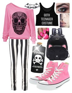 """""""Pastel goth #9"""" by kitty-lau-elisa ❤ liked on Polyvore featuring Off-White, Valfré and Converse"""
