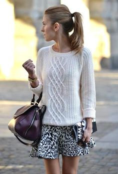 cable sweater & light skirt from LE CATCH