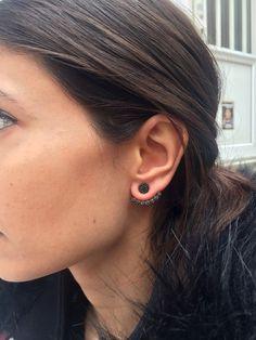 Black CZ stone Ear jacket Earrings // Same Day by HappyWayJewelry