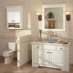 Master Bathroom Knee Wall adding a privacy kneewall between the #vanity and #toilet keeps