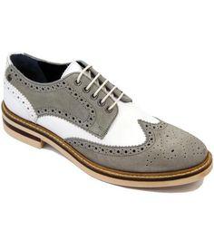 e3b6ca471280 BASE LONDON Woburn Retro 60s Mod 2-Tone Brogues Grey White Chaussures  Rétros