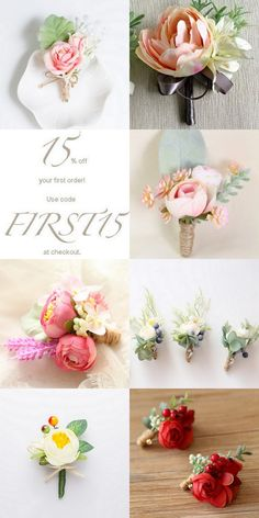 Our spring Peony and Rose Boutonnière collection has arrived~Check our store for more selections~Perfect for wedding, prom, with matching corsage. Features peony, rose, succulents, greeneries, and etc
