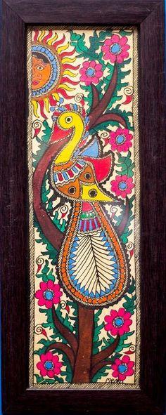 Red-Violet madhubani Traditional Art by Kalaviti Arts on Cloth, Folk Art based on theme Folk Art Madhubani Paintings Peacock, Peacock Painting, Madhubani Art, Indian Art Paintings, Fabric Painting, Peacock Art, Canvas Paintings, Pottery Painting, Gond Painting