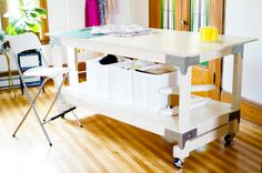 Closet Case Files: Cutting Table DIY << #sewing #sewingroom table wheels castors