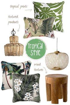tropical home decor Interior Tropical, Design Tropical, Tropical Home Decor, Tropical Houses, Tropical Colors, Tropical Fabric, Tropical Vibes, Estilo Tropical, Coastal Style