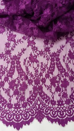 Purple lace fabric, French Lace, Chantilly Lace, Bridal lace Wedding Lace Evening dress lace Scalloped Floral lace Lingerie Lace by the yard
