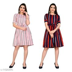 Checkout this latest Dresses Product Name: *Trendy Fancy One Piece Dress With Belt* Fabric: Poly Crepe Sleeve Length: Short Sleeves Pattern: Printed Multipack: 2 Sizes: XS, S (Bust Size: 36 in, Length Size: 37 in)  M, L, XL Country of Origin: India Easy Returns Available In Case Of Any Issue   Catalog Rating: ★4 (235)  Catalog Name: Free Mask Stylish Feminine Women Dresses CatalogID_2167743 C79-SC1025 Code: 225-11520846-2751