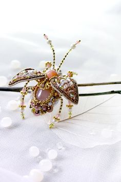 Indian inspired Beetle brooch Hand embroidered designer insect jewelry pearl green pink Rose Quartz colourful bug pin beautiful gift for her