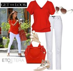 "Get The Look: Eva Longoria loves her white jeans paired with vibrant tops. Etcetera can give you that look with our favorite ""Moonlit"" white jeans and either our ""Poet"" Georgette blue tunic blouse or this season's new neutral orange knit top ""Cinnabar""."