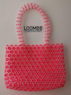 Handmade Pink Clear Colors Beaded Handbag with Bag Handle by BaBooNeez on Etsy Handmade Handbags, Vintage Handbags, Straw Handbags, Popular Handbags, Art Bag, Beaded Bags, Beads, Drop, Pink