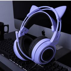 SOMIC Purple Stereo Gaming Headset with Mic for Xbox One PC Phone Detachable Cat Ear Noise Reduction Headphone Cute Headphones, Gaming Headphones, Gaming Headset, Cat Ear Headset, Gaming Computer, Gamer Setup, Gaming Room Setup, Photos Folles, Noise Reduction Headphones